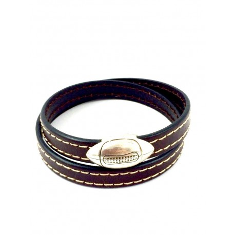 Bracelet double tour Rugby MARRON